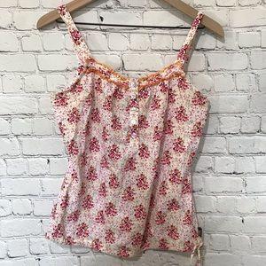 PrAna Floral Sleeveless Tank Top Drawstring waist